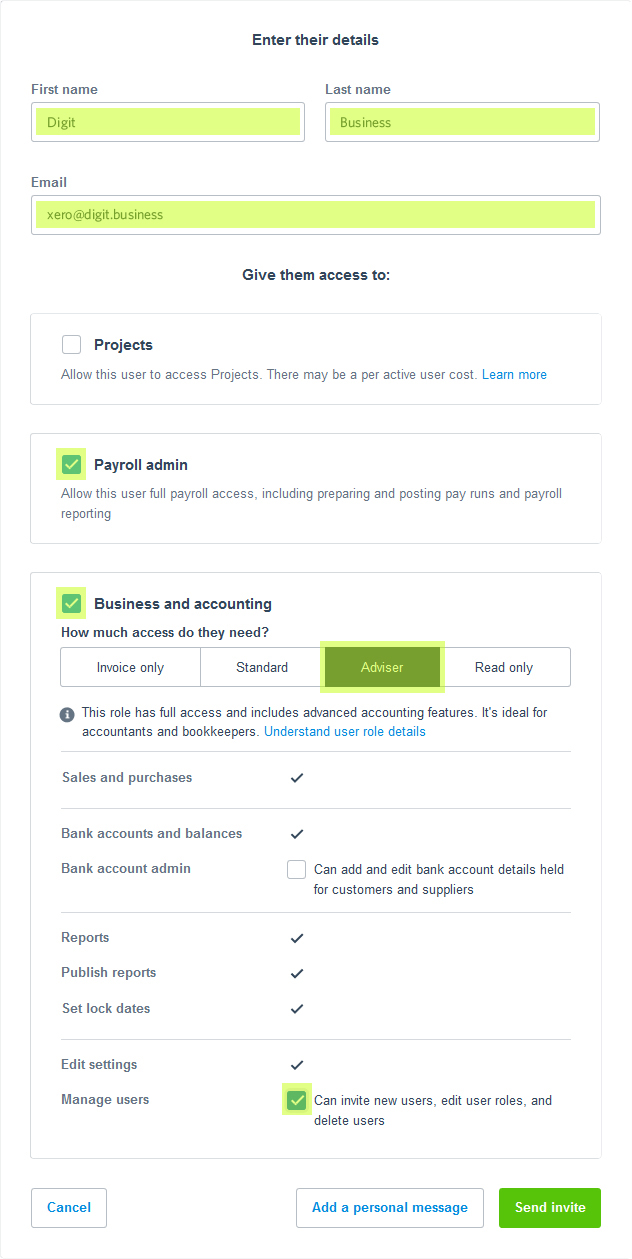 Add User to Xero