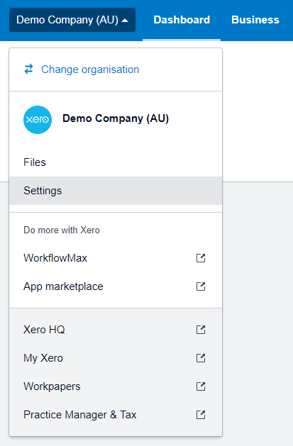 Xero Settings Menu